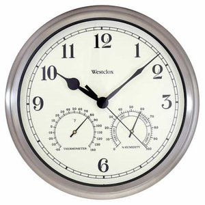 Westclox Indoor/Outdoor Clock with Temp/Humidity